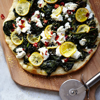Meyer Lemon, Spinach and Goat Cheese Pizza