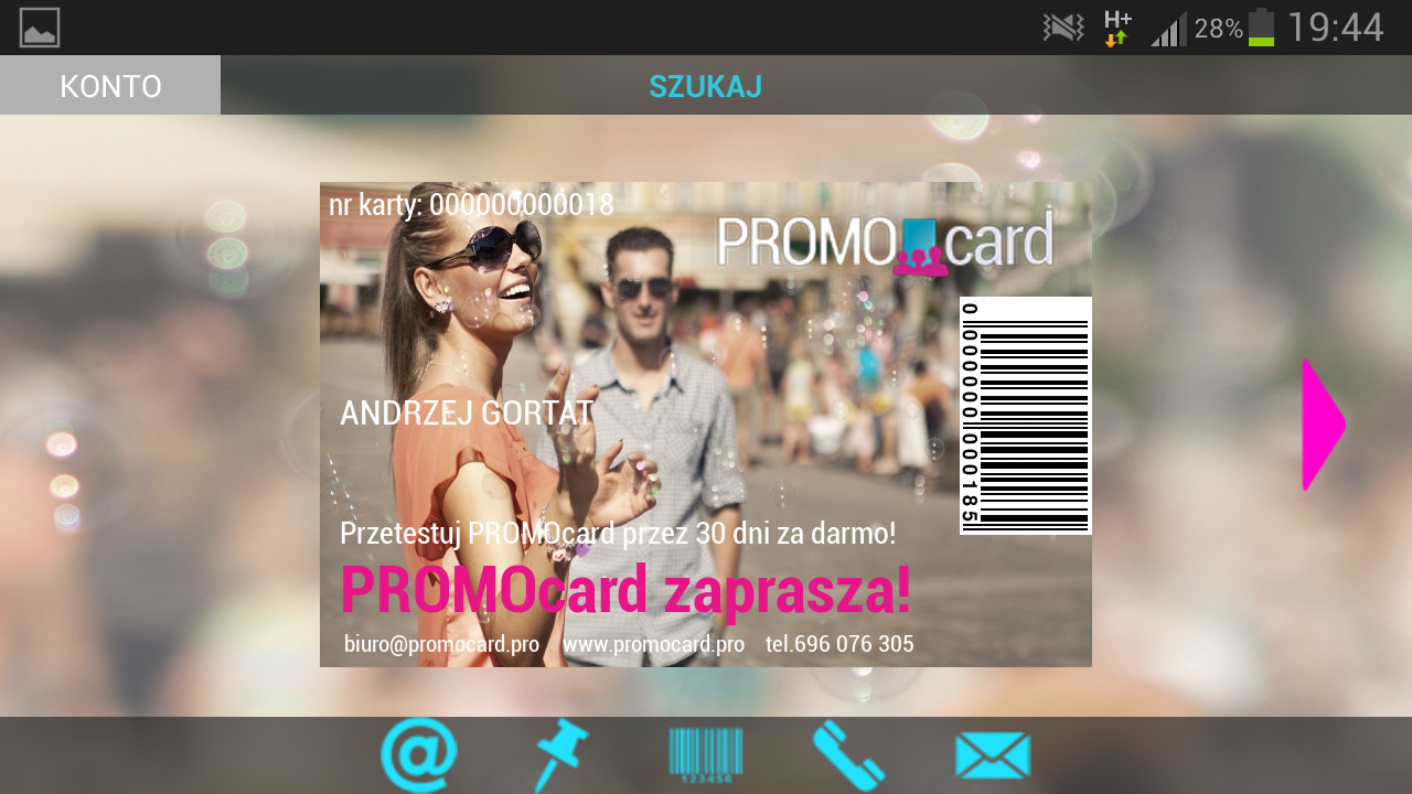 PROMOcard- screenshot