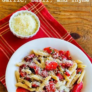 Fresh Garden Tomato No-Cook Pasta Sauce with Garlic, Basil, and Thyme.
