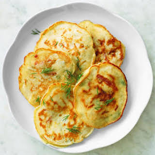 Dill Pancakes with Country Ham and Cheese.