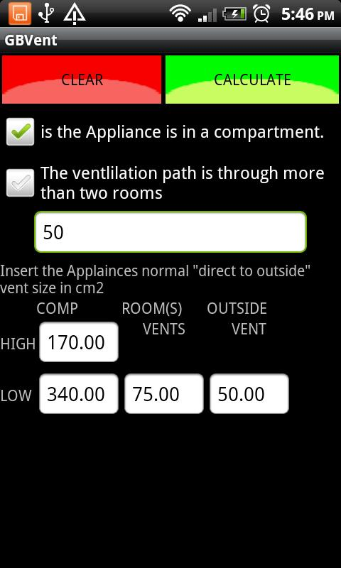 GB Gas Ventilation Calculator - screenshot