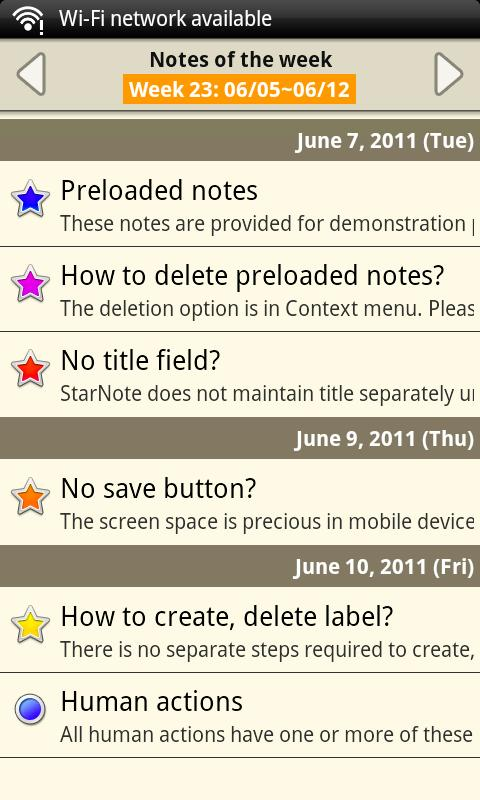 Notepad - Star Note Demo - screenshot