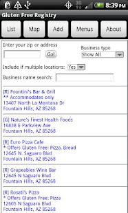 Gluten Free Registry - screenshot thumbnail