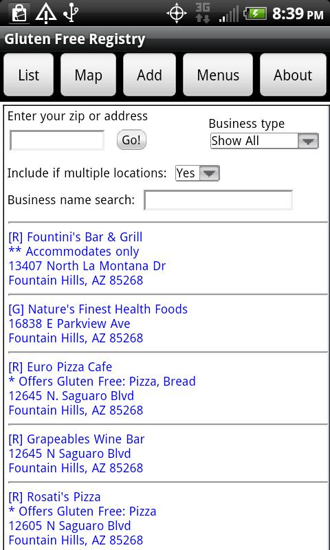 Gluten Free Registry- screenshot