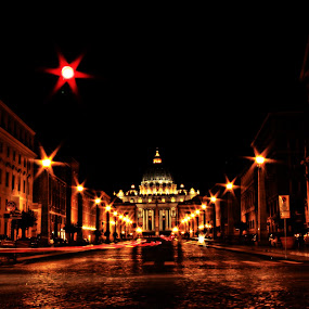 City of Path by Aditya Kristanto - City,  Street & Park  Night ( lights, church, rome, trail, beautiful, architecture, vatican, italy, city )