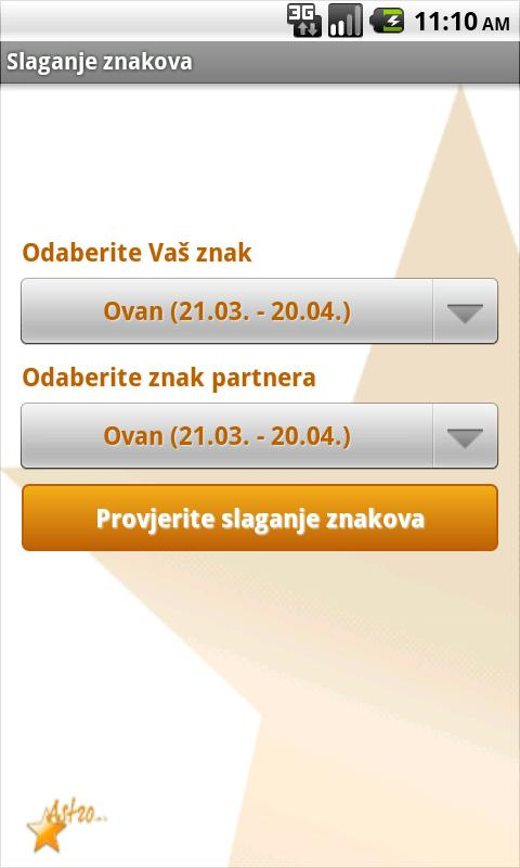 Slaganje znakova horoskopa- screenshot