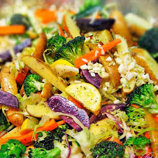 Pasta Smothered with Roasted Vegetables.
