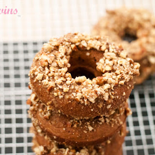 High Protein No Sugar Added Banana Coconut Pecan Baked Donuts.