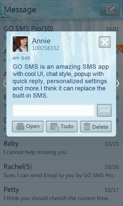 GO SMS Pro Iceblue theme screenshot #2
