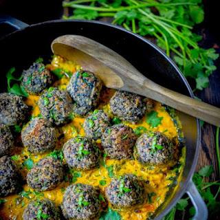 Lentil Meatballs with Indian Fenugreek Sauce.