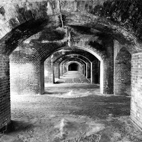 Big Arches of fort by Jay Anderson - Black & White Buildings & Architecture ( canon, old, vacation, dry tortuga, arch, park, brick, arches, jefferson, island,  )