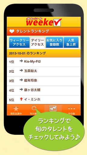 玩娛樂App|「タレントweeker」タレント、芸能人のテレビ番組出演情報免費|APP試玩