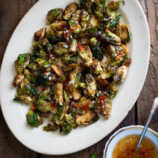Crispy Fried Brussels Sprouts Recipe with Mom's Chili Fish Sauce.