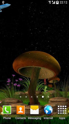 3D Night Mushroom Live Wall