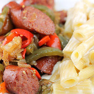 Kielbasa and Peppers with Pasta Alfredo.