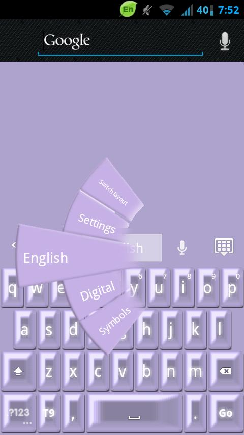 GO Keyboard Purple Pearl - screenshot