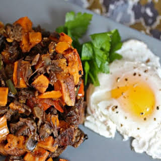 Whiskey Brisket and Sweet Potato Hash.