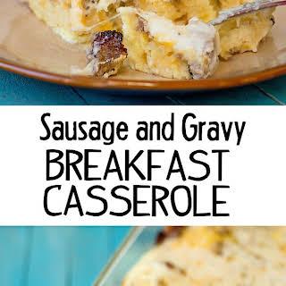 Sausage, Gravy and Biscuit Breakfast Casserole.