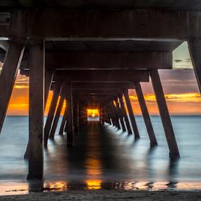 That One in a Million Shot by Sharon Wills - Buildings & Architecture Bridges & Suspended Structures ( south australia, sun set, australian, glare, sea, ocean, jetty, orange sky, sun, colour, sunburst, colourful, glenelg, sun burst, sunset, peir, australia, south australian,  )