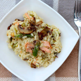 Seafood, Asparagus and Fried Mushroom Risotto