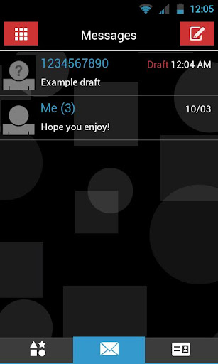 GO SMS THEME - Red Blue Shapes