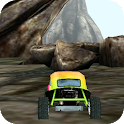 3D Car Racing Rocky Landscape logo