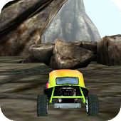 3D Car Racing Rocky Landscape