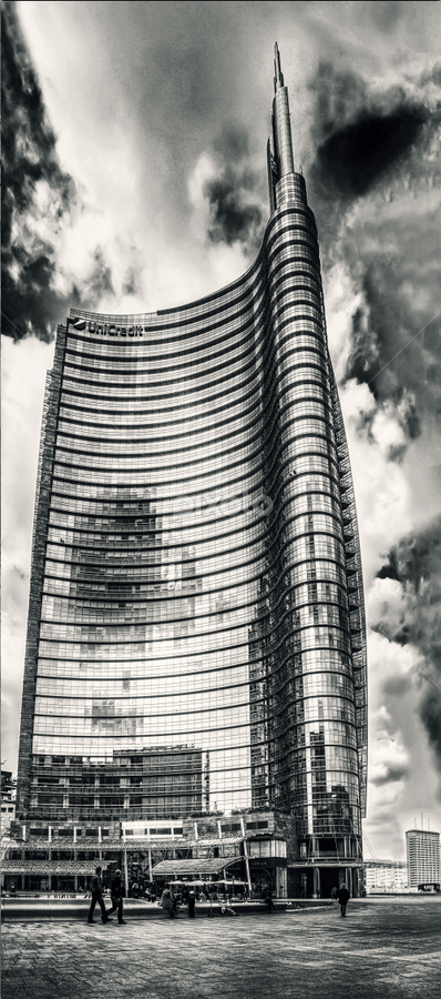 by Andrea Conti - Black & White Buildings & Architecture ( clouds, milan, tower, reflection, sky, palazzo, grattacielo, skyscraper, glasses, offices, black & white, buildings, square, milano )
