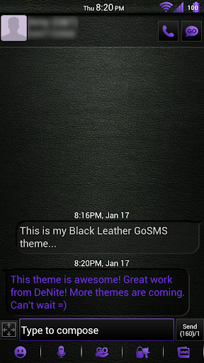 Leather Purple GoSMS Theme