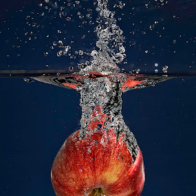 Apple Bomb by Troy Wheatley - Food & Drink Fruits & Vegetables ( water, fruit, red, splash, blue, drop, apple )