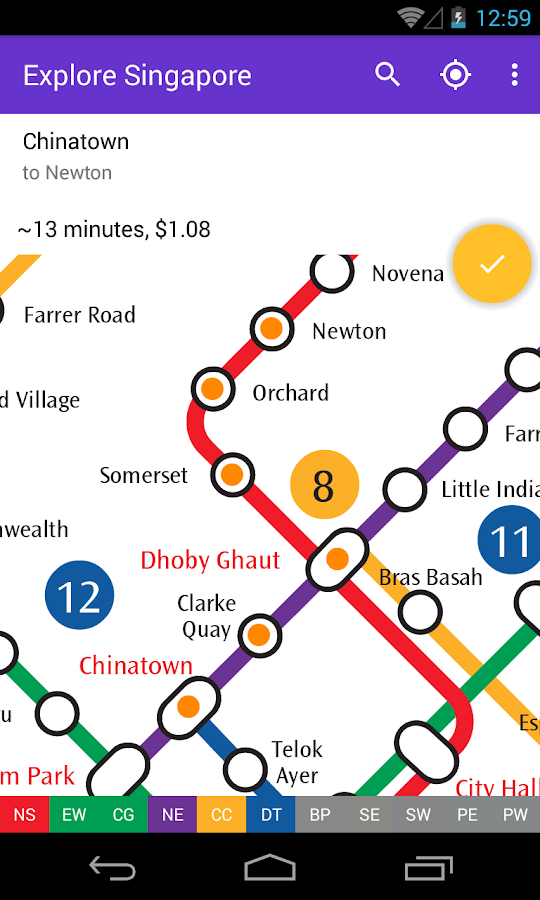 Explore Singapore MRT map- screenshot