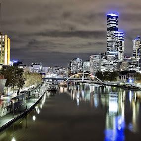 Melbourne  by Anna Gottlieb - City,  Street & Park  Night