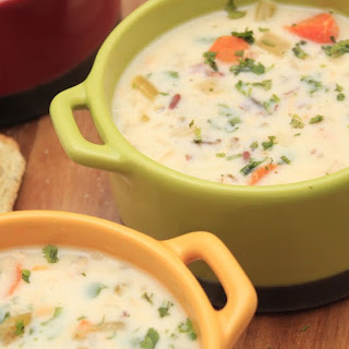 Slow Cooker Cream of Chicken and Wild Rice Soup.