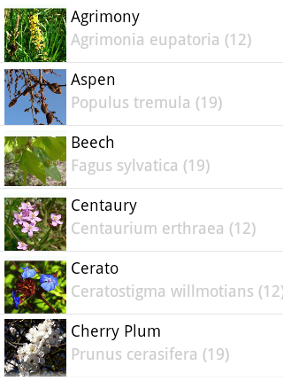 Bach Flower Remedy Browser- screenshot