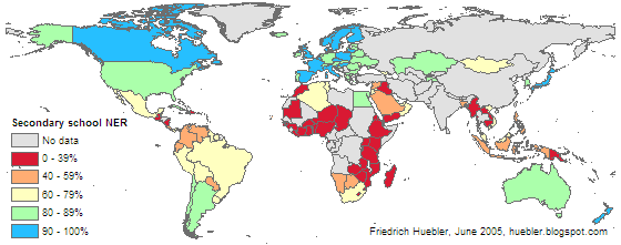 Map of the world showing secondary school net enrollment rate for each country in 2002/03