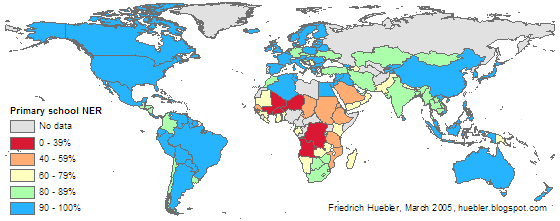 Map of the world showing primary school net enrollment rate for each country