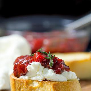 Bruschetta with Strawberry Chutney and Goat Cheese.