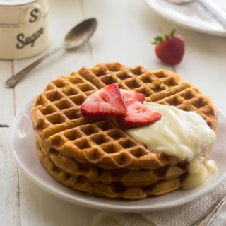 Whole Wheat Strawberries and Cream Waffles.