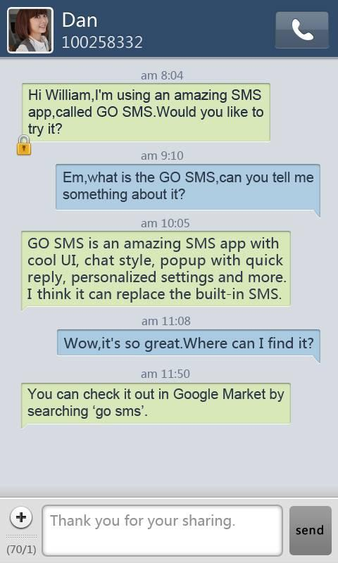 GO SMS Pro SimpleBlue theme- screenshot