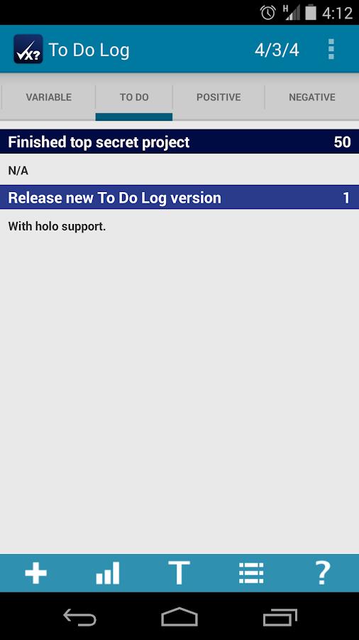 To Do Log- screenshot
