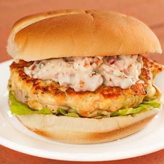 Salmon Burgers w/Sun-Dried Tomato-Chive Mayo.