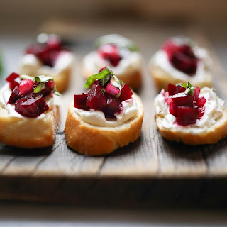 Beet and Goat cheese bruschetta with Basil.