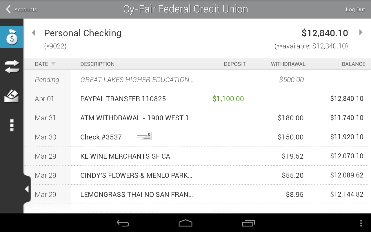 Cy-Fair FCU Mobile Banking- screenshot