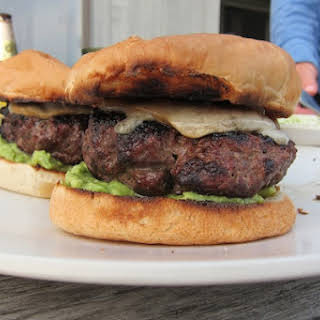 Cheddar Cheese Burgers with Charred Red Onions.