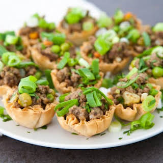 Mini Jamaican Beef Bites In Phyllo Shells.