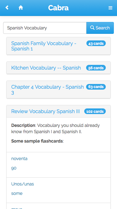 Cabra Flashcards - screenshot