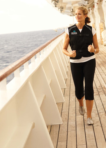 Spa-Fitness-Walkvest-on-the-Promenade-Deck - Walk the Promenade Deck with the Spa Walkvest to track your steps and heartrate aboard the Crystal Serenity. It's fun!