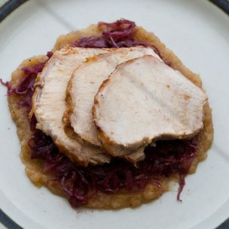 Roasted Pork Loin with Braised Red Cabbage and Smoked Apple Puree Recipe