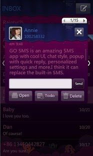 GO SMS Pro Purple theme - screenshot thumbnail