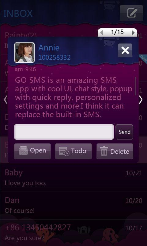 GO SMS Pro Purple theme- screenshot